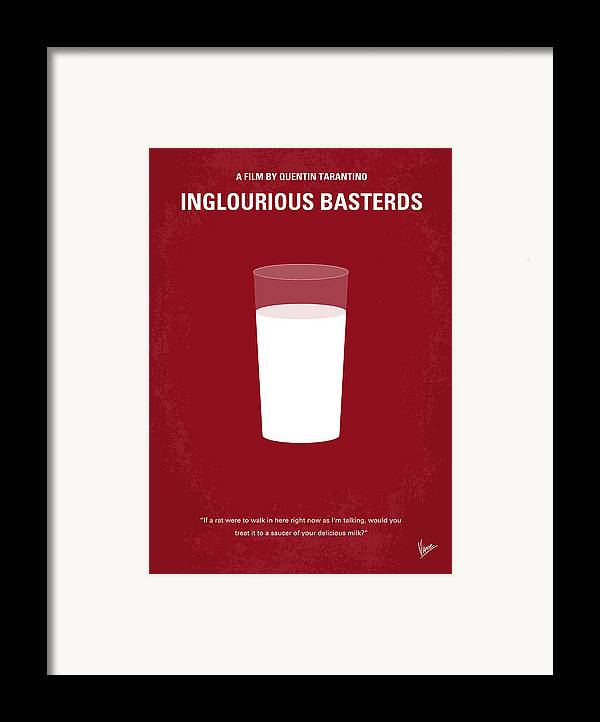 Inglourious Framed Print featuring the digital art No138 My Inglourious Basterds Minimal Movie Poster by Chungkong Art