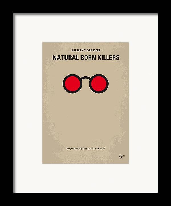 Natural Framed Print featuring the digital art No139 My Natural Born Killers Minimal Movie Poster by Chungkong Art