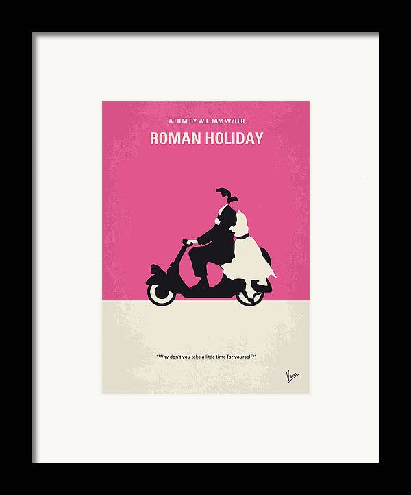 Roman Framed Print featuring the digital art No205 My Roman Holiday Minimal Movie Poster by Chungkong Art