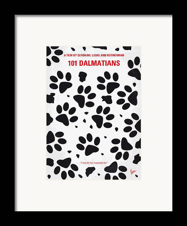 101 Framed Print featuring the digital art No229 My 101 Dalmatians Minimal Movie Poster by Chungkong Art