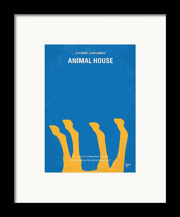 Animal Framed Print featuring the digital art No230 My Animal House Minimal Movie Poster by Chungkong Art