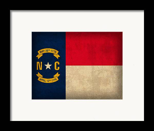 North Framed Print featuring the mixed media North Carolina State Flag Art On Worn Canvas by Design Turnpike