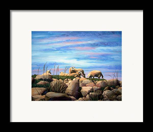 Sheep Framed Print featuring the painting Norwegian Sheep by Janet King