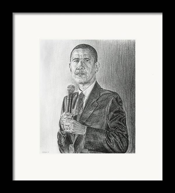 Obama Framed Print featuring the drawing Obama 3 by Michael Morgan