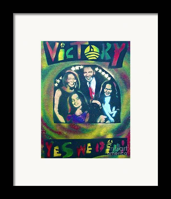 Barack Obama Framed Print featuring the painting Obama Family Victory by Tony B Conscious
