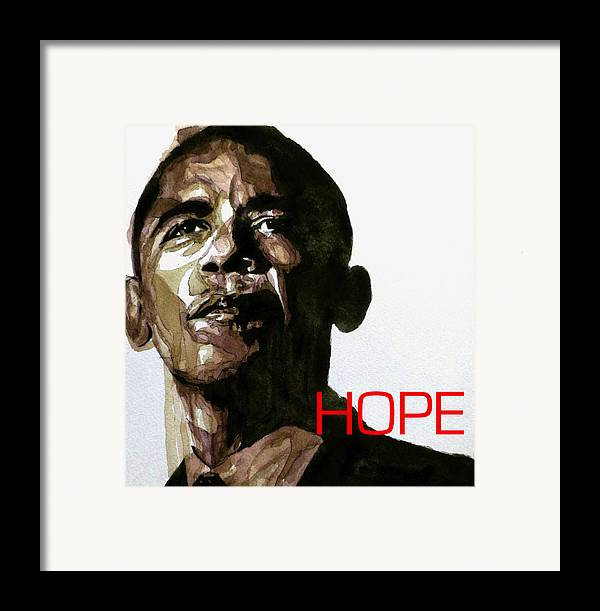 Barack Obama Framed Print featuring the painting Obama Hope by Paul Lovering