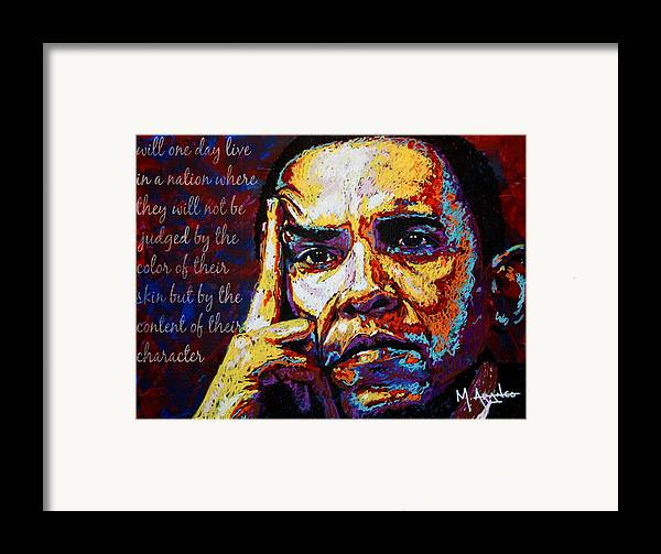 Barack Obama Framed Print featuring the painting Obama by Maria Arango