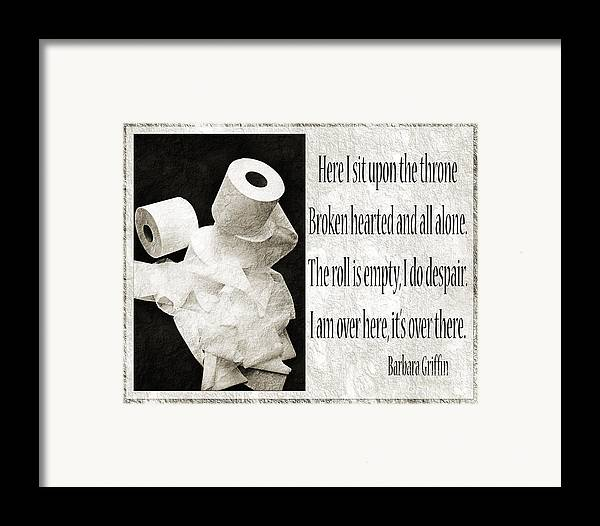 Bathroom Framed Print featuring the photograph Ode To The Spare Roll Bw 2 by Andee Design