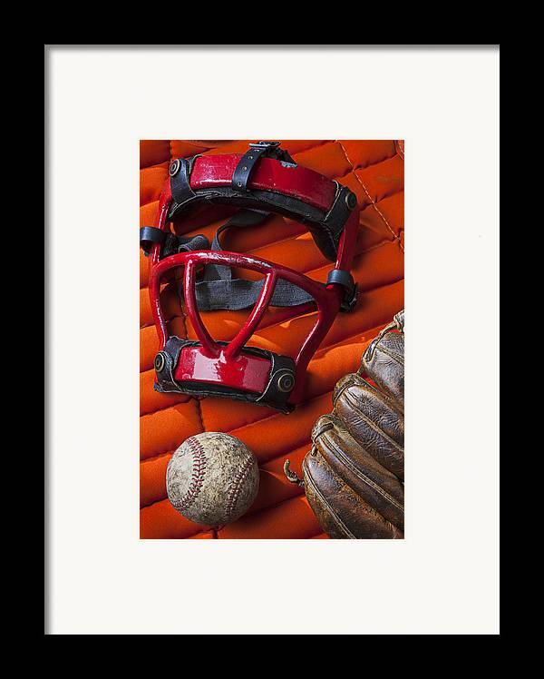 Old Framed Print featuring the photograph Old Catcher Mask by Garry Gay