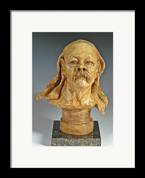Figurative Sculpture Framed Print featuring the sculpture Old Hippie by Eduardo Gomez
