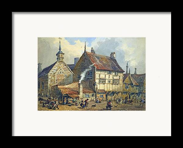 Old; Houses; House; St; Olaves; Church; Lower; Bridge; Street; Chester; Cheshire; Medieval; Architecture; Half-timbered; Half; Timbered; Daily; Life; Scene; Figure; Figures; Busy; Town; City; Shop; Shops; Commerce; Trade; Fruit And Vegetable; Stall; Fruit; Vegetable; Smoke; Smoking; Chimney; Anecdotal; Horse And Cart; Horse; Cart; English; British; Framed Print featuring the painting Old Houses And St Olaves Church by George Shepherd
