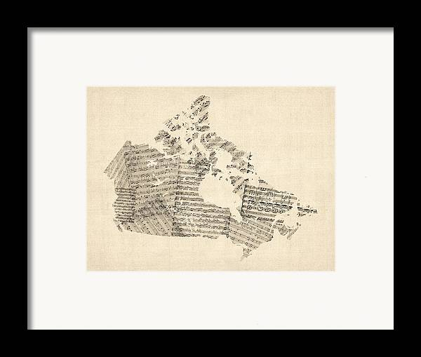 Canada Map Framed Print featuring the digital art Old Sheet Music Map Of Canada Map by Michael Tompsett
