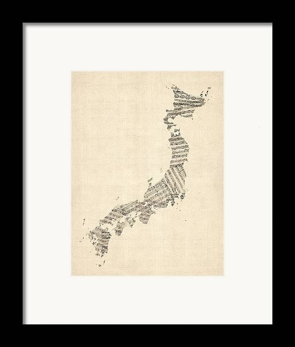 Japan Map Framed Print featuring the digital art Old Sheet Music Map Of Japan by Michael Tompsett