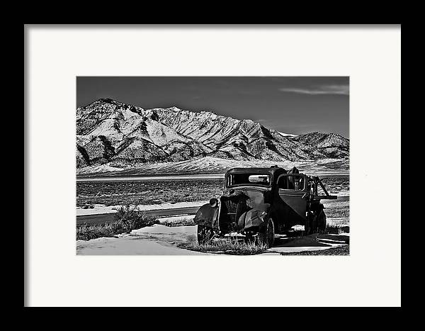 Black And White Framed Print featuring the photograph Old Truck by Robert Bales