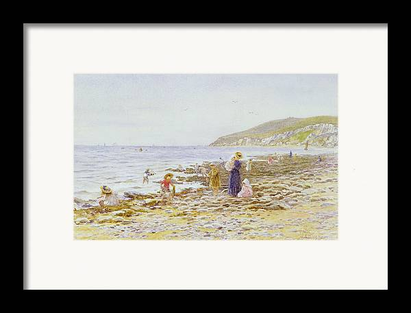 Beach Framed Print featuring the painting On The Beach by Helen Allingham