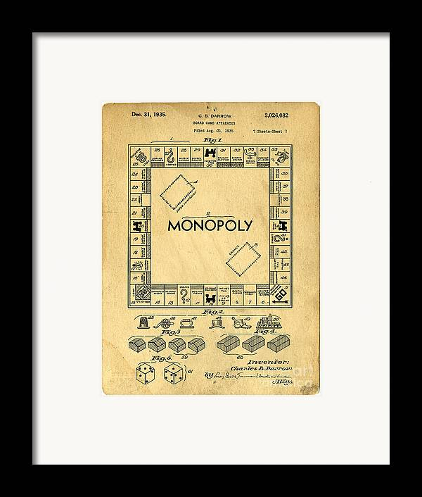 Monopoly Framed Print featuring the drawing Original Patent For Monopoly Board Game by Edward Fielding
