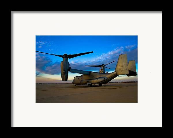 V22 Framed Print featuring the photograph Osprey Sunrise Series 1 Of 4 by Ricky Barnard