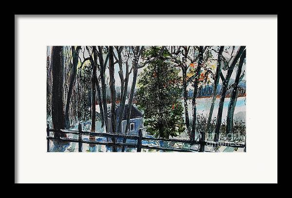 Walden Pond Framed Print featuring the painting Out Of The Woods At Walden Pond by Rita Brown