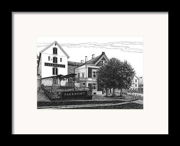 Pakkhuset Framed Print featuring the drawing Pakkhuset by Janet King