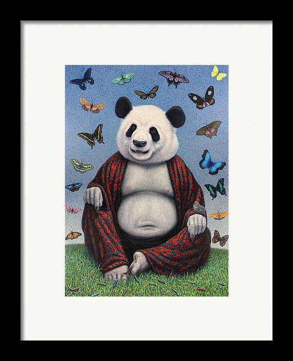 Panda Framed Print featuring the painting Panda Buddha by James W Johnson