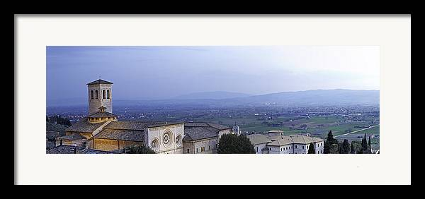 Italy Framed Print featuring the photograph Panoramic View Of Assisi At Night by Susan Schmitz