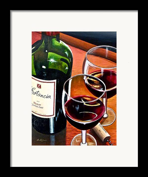 Wine Paintings Framed Print featuring the painting Party Of Two by Tim Eickmeier