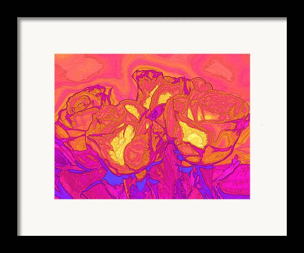 Abstract Framed Print featuring the digital art Passion's Petals by Wendy J St Christopher