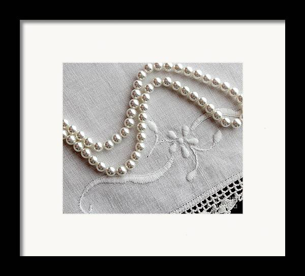 Pearls And Old Linen Framed Print featuring the photograph Pearls And Old Linen by Barbara Griffin