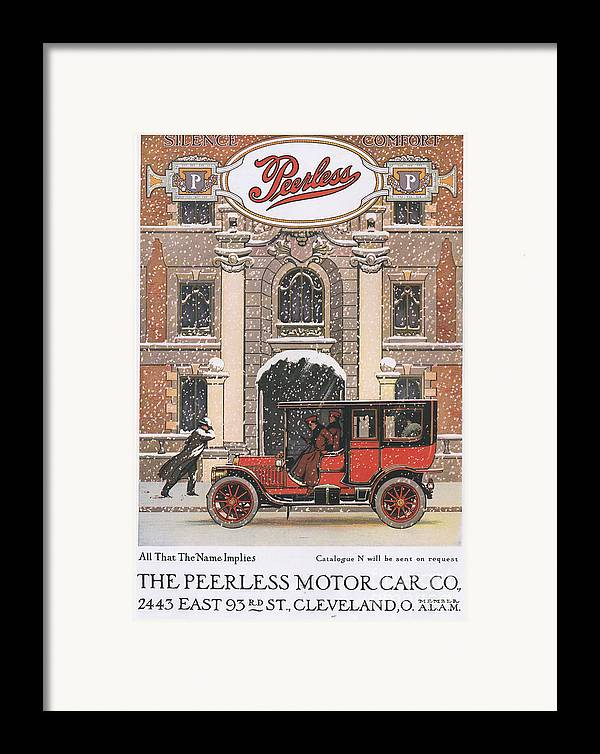 1910�s Framed Print featuring the drawing Peerless 1910s Usa Cars Winter Snow by The Advertising Archives