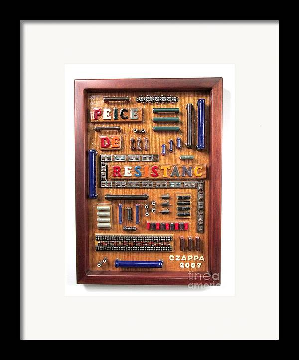 Electronic Parts Framed Print featuring the sculpture Peice De Resistanc by Bill Czappa