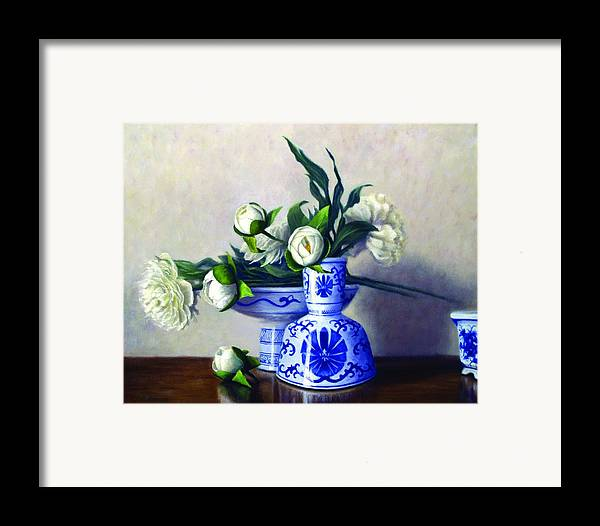 Peonies Framed Print featuring the painting Peony Blossoms by Rick Hansen