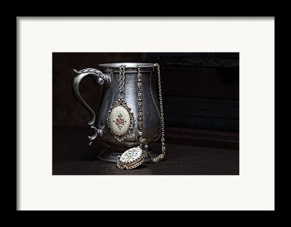 Jewelry Framed Print featuring the photograph Pewter Cup Still Life by Tom Mc Nemar