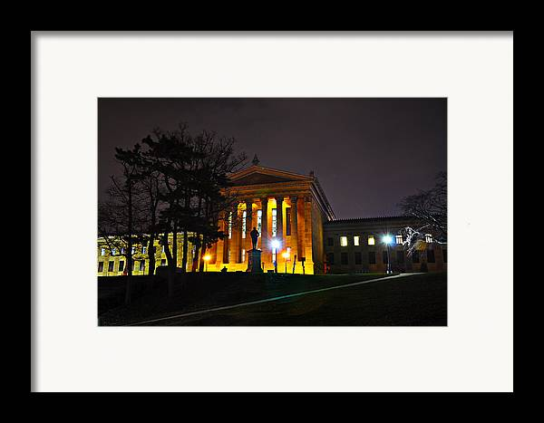 Philadelphia Framed Print featuring the photograph Philadelphia Art Museum At Night From The Rear by Bill Cannon