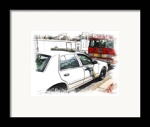 911 Framed Print featuring the photograph Philadelphia Police Car by Fiona Messenger