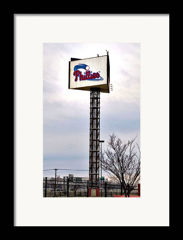 Phillies Framed Print featuring the photograph Phillies Stadium Sign by Bill Cannon