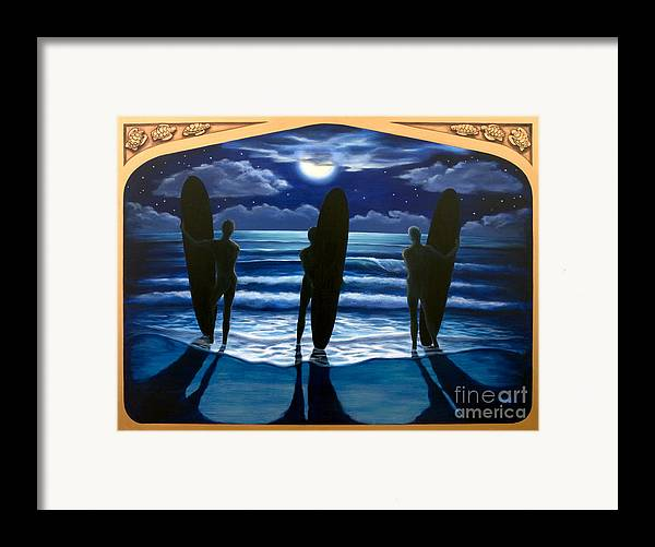 Surfing Framed Print featuring the painting Phosphorus Nights by Teri Tompkins