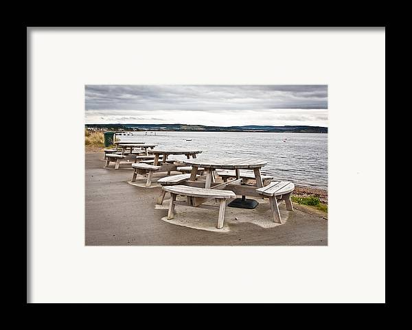 Al Fresco Framed Print featuring the photograph Picnic Tables by Tom Gowanlock