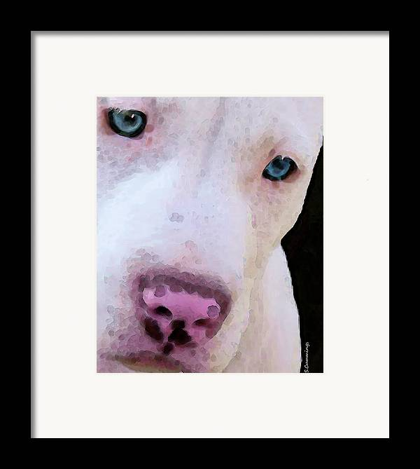 Pit Bull Framed Print featuring the painting Pit Bull Art - Not A Fighter by Sharon Cummings