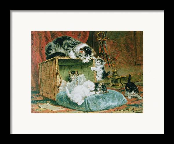 Cat Framed Print featuring the painting Playtime by Henriette Ronner-Knip