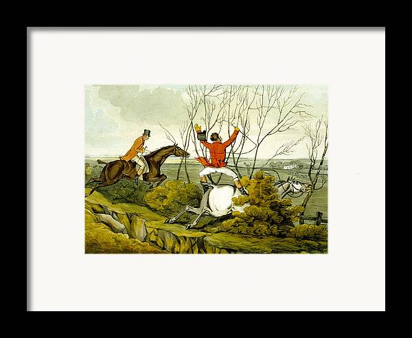 Ditch; Jumping; Grey; Horse; Hunter; Hunting; Rider; Horseback; Unseated; Unhorsed; Falling; Landscape; Accident; Sport; Comical; Humorous Framed Print featuring the painting Plunging Through The Hedge From Qualified Horses And Unqualified Riders by Henry Thomas Alken