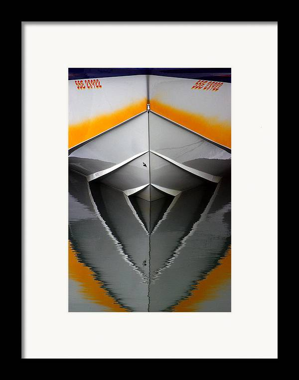 Boat Framed Print featuring the photograph Pointy End Reflection by Paul Wash
