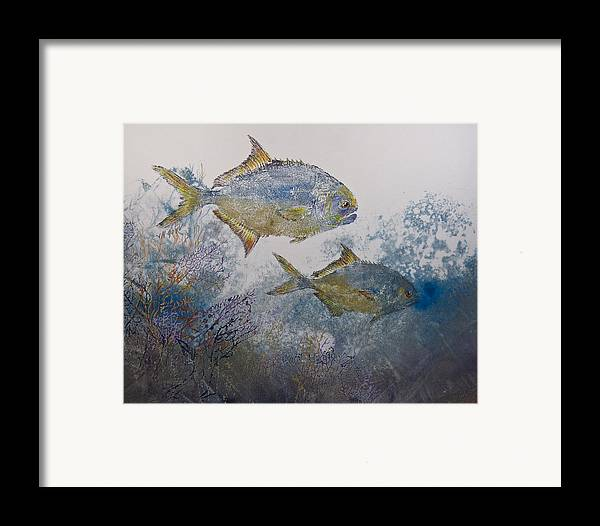 Fish Framed Print featuring the mixed media Pompano And Sea Fans by Nancy Gorr