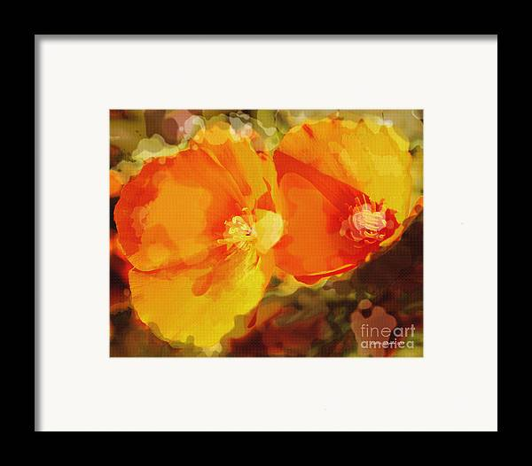 Abstract California Poppies Photographs Canvas Prints Canvas Framed Print featuring the photograph Poppies On Fire by Artist and Photographer Laura Wrede