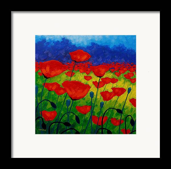 Poppies Framed Print featuring the painting Poppy Corner II by John Nolan