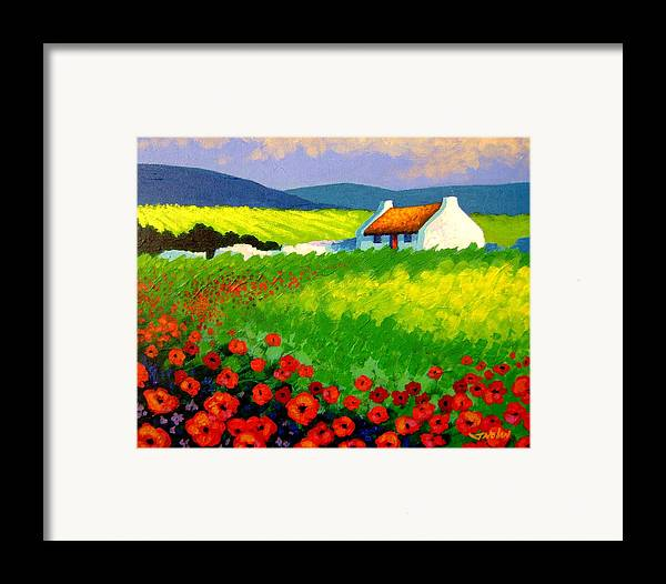 Ireland Framed Print featuring the painting Poppy Field - Ireland by John Nolan