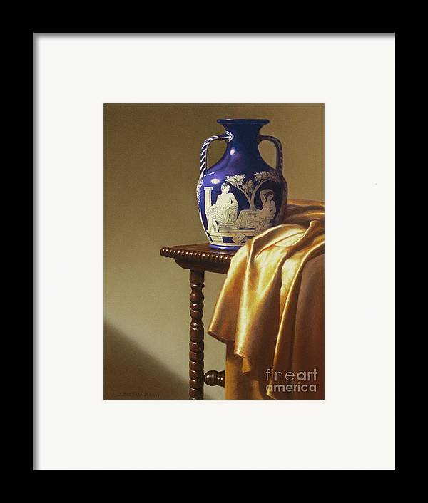 Still Life Framed Print featuring the painting Portland Vase With Cloth by Barbara Groff