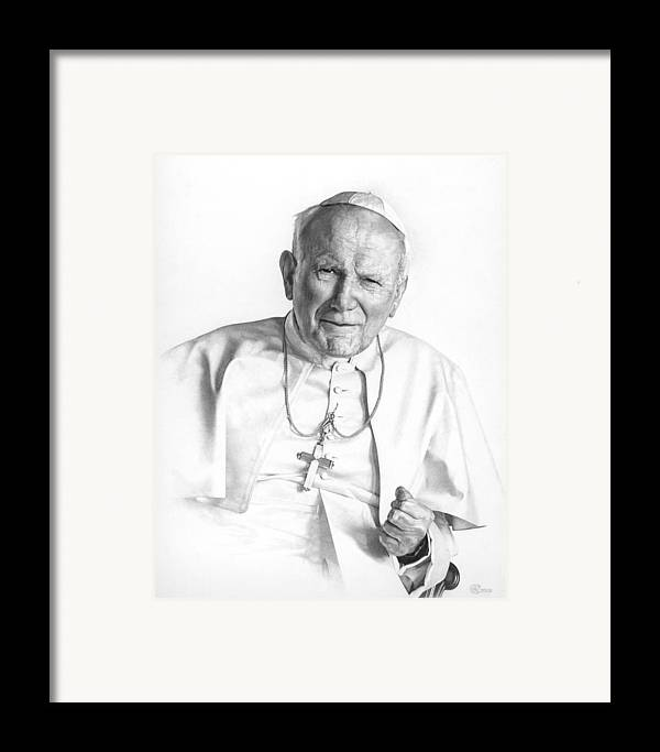 Pope Framed Print featuring the drawing Portrait Of A Saint by Smith Catholic Art