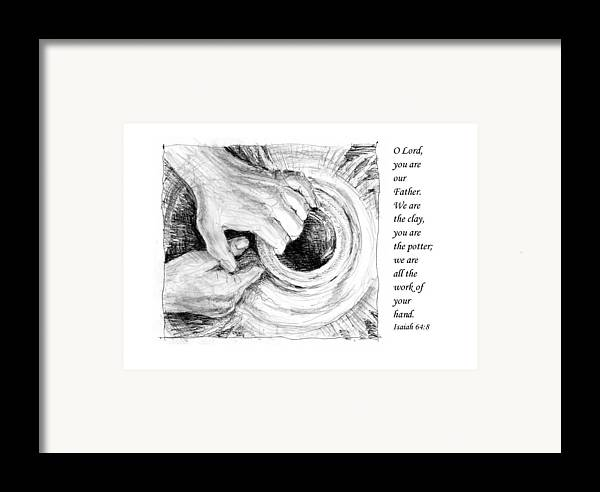 Pen And Ink Drawing Framed Print featuring the drawing Potter And Clay by Janet King