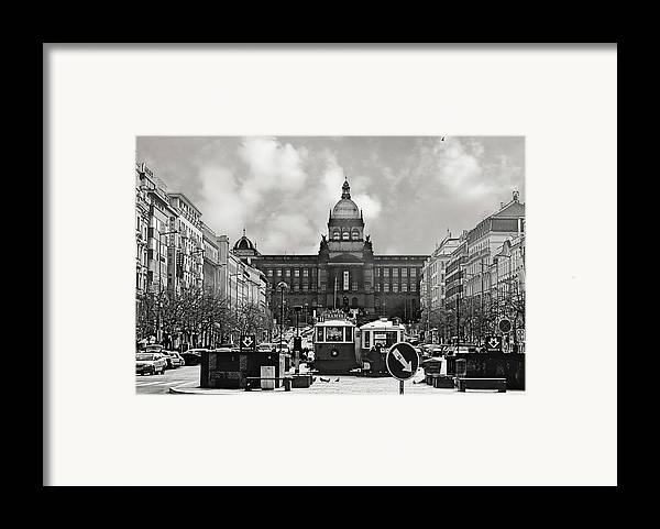 New Town Framed Print featuring the photograph Prague Wenceslas Square And National Museum by Christine Till