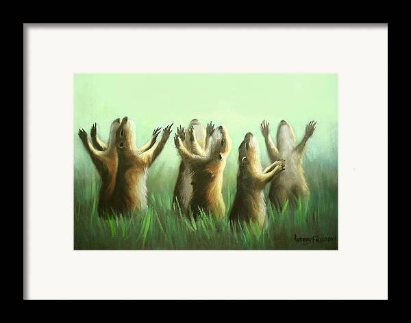 Praising Prairie Dogs Framed Print featuring the painting Praising Prairie Dogs by Anthony Falbo